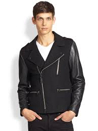 where can i lyst mackage leather sleeve wool biker jacket in black for men 311dd