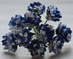 Daisy Paper Flower Royal Blue White Aster Daisy 1 3 Cm Mulberry Paper Flowers