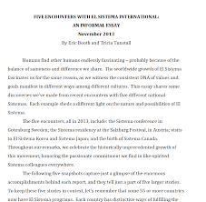 articles essays and speeches relating to el sistema sistema international essay tunstall and booth