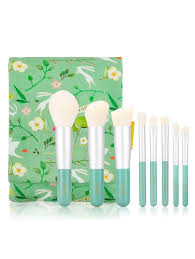 2018 8pcs makeup brushes set with flower printed brush bag in