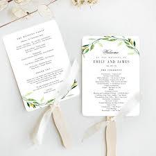 Templates For Wedding Programs Green Foliage Wedding Program Fan Template Gfc