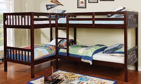 Quadruple bunk bed with 4 beds in l-shape