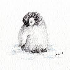 penguin drawings in pencil. Simple Pencil 1 Little Penguin Chick  Original Pencil Drawing And Drawings In
