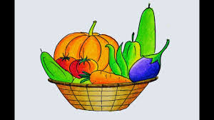 how to draw a vegetables basket easy and simple winter vegetables drawing