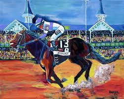 horse racing cky derby nyquist original art painting dan byl huge 4ft x 5ft