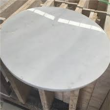 natural stone white marble round table tops