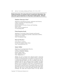Pdf Determinants Of Mutual Fund Investment Decision By