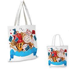 Mad By Design Bags Alice In Wonderland Canvas Shoulder Bag Mad Design Of Cards Clocks Tea Pots Keys Flowers Fantasy World Artwork Canvas Lunch Bag Multicolor