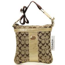 Coach Legacy Swingpack In Signature Medium Khaki Crossbody BagsB