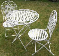white fl outdoor folding metal round table and chairs garden patio furniture