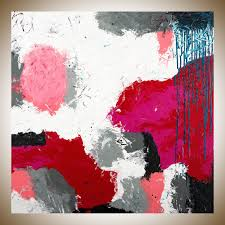 playful by qiqigallery 30 x 30 abstract painting red white grey blue painting original art painting on canvas wall art wall decor home decor wall hanging