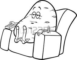 couch clipart black and white. couch potato: black and white cartoon humor concept illustration of potato saying or proverb clipart