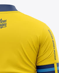 You can place your logo design or branding design elements on a jersey, left and right shorts, both socks and change the color easily. Men S Soccer Jersey T Shirt Mockup Back View In Apparel Mockups On Yellow Images Object Mockups