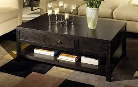 ... Living Room Coffee Table Best Contemporary Design Black Stained Finish  Rectangle Wooden Lower Shelf Drawer Feature ...