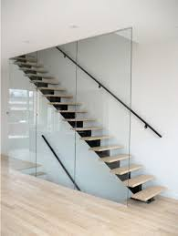 Floating Staircase With Glass Railing Wall
