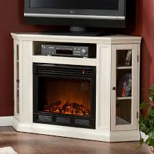 claremont wall or corner electric fireplace media cabinet in ivory fe9314