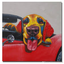 Oil Painting For Living Room 2017 On The Car Dog Painting For Living Room Wall Hand Painted Oil