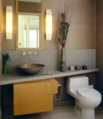 Traditional Bathroom Sinks Angled Counter Powder Room Contemporary With Wood Wall