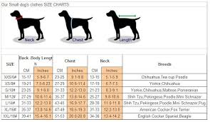 Pet Clothes Size Chart How To Make Puppy Stop Chewing Pet Clothing Size Chart