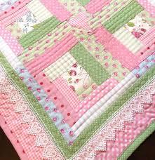 63 best baby quilts images on Pinterest | Modern baby quilts ... & Modern Log Cabin, Baby Girl Quilt , Pink Baby Quilt - Cottage Chic - Quilt Adamdwight.com