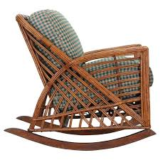 wicker rocking chair. Cramer Art Deco Stick Reed Rattan Wicker Rocking Chair For Sale With