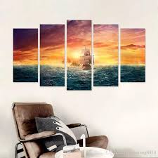>2018 pirate ship big size sea sun decoration gold seascape wall art  2018 pirate ship big size sea sun decoration gold seascape wall art pictures landscape canvas painting boat living room unframed from xiaofang8810
