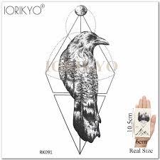 новая мужская водонепроницаемая татуировка в виде ворона геометрический ствол