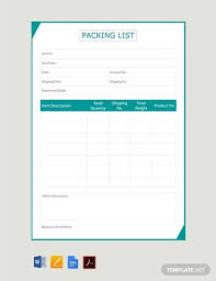 25 Packing List Templates Pdf Doc Excel Free