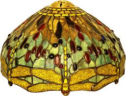 Stained Glass Lamp Shade In Gold Green And Brown With Dragonflies