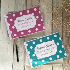 dels about personalised polka dot christening naming day guest book gift box magenta teal
