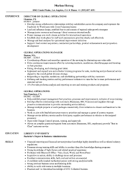 Global Operations Resume Samples Velvet Jobs