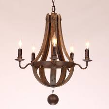 metal and wood chandelier. Rustic Wine Barrel Stave Reclaimed Wood \u0026 Rust Metal Chandelier With Candle Light - Amazon.com And D