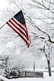 American Flag in Snow Photo