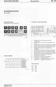 audi 100 200 factory wiring diagrams 74 additional instruments from 7 88