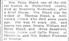 Patsy Rollins Bland obituary 1913 - Newspapers.com