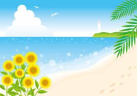 フリーイラスト ヒマワリと夏のビーチの風景でアハ体験 Gahag 著作