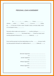 Personal Loan Form Template Agreement Templates Ideas