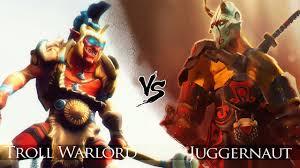 dota 2 juggernaut vs troll warlord one click battle youtube