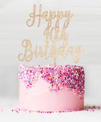 Happy 40th Birthday Birch Wood Cake Topper Lissielou