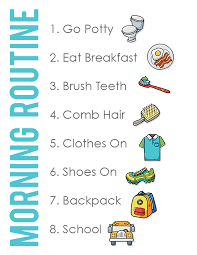 Morning Routine Chart For 5 Year Old Kid Friendly Back To School Morning Routine Chart See