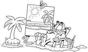 Garfield Aan Het Strand Kleurplaat Jouwkleurplaten
