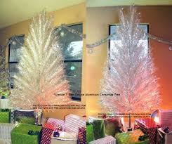 The left photo features the YuleTide 7' Slim Deluxe Aluminum Christmas  Tree in