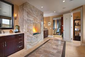 attractive master bathroom design ideas feat cream marble wall fireplace also wooden vanity cabinet plus brown painted wall