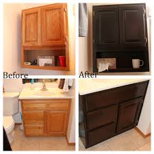 bathroom cabinets over toilet. Before And After Gel Staining Oak Bathroom Cabinets Over Toilet With Darker Color Ideas