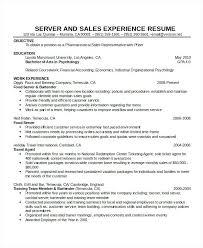 Resume Examples For Restaurant Server Server Resume Template Free