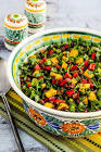 black bean and bell pepper salad with date dressing