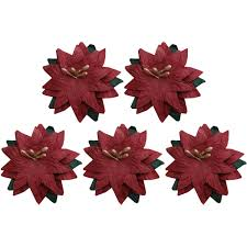 Red Paper Flower Red Paper Poinsettias 5 Pack