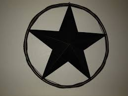 24 barn star with solid ring twisted barb wire metal wall art