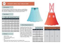 Circle Skirt Chart Womens Erica Half Circle Skirt