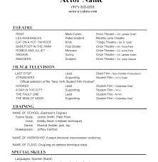 Sample Theatre Resumes Acting Resumes For Beginners Acting Resume Beginners No Experience